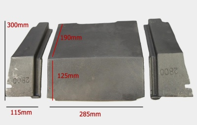 Replacement 3pc Cast Iron Baffle / Throat Plate SET for Abbey 9kw stove (includes centre and wings)