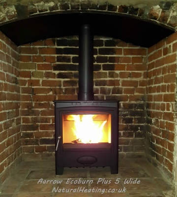 Aarrow Ecoburn Plus 5 Wide Multi Fuel and Wood Burning Stove - 4.9kw Nominal, DEFRA Exempt