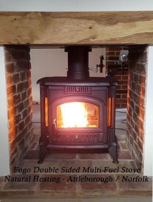 Fogo DOUBLE SIDED Cast Iron Multi Fuel and Wood Burning Stove - 14kw max (7 > 12kw to room)