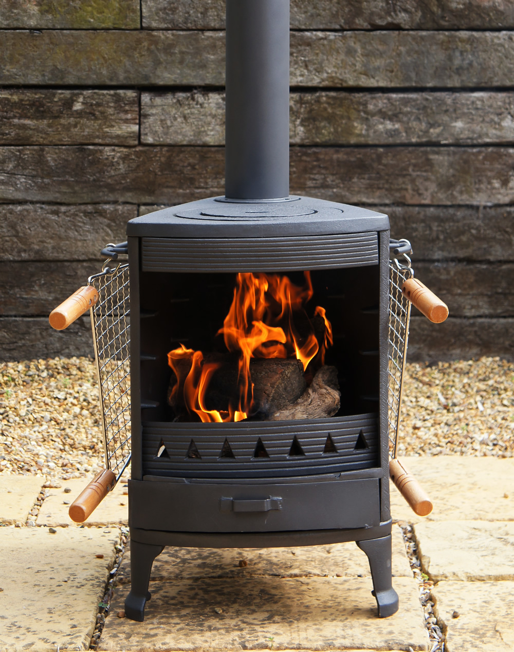 Hellfire garden cast iron stove cooker bbq patio heater for Wood burning stove for porch