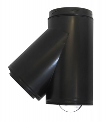 135 deg Tee incl. Cap BLACK - 6 inch / 150mm dia - Twin Wall Insulated Flue Pipe Eco ICID