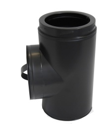 90 deg Tee incl. Cap BLACK - 6 inch / 150mm dia - Twin Wall Insulated Flue Pipe Eco ICID