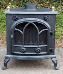 Abbey (with Brass Balls) Cast Iron Multi Fuel and Wood Burning Stove - 9kw max (4.5 - 7.5kw to room)
