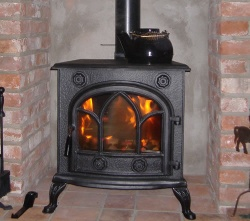 Abbey (with Chrome Fittings) Cast Iron Multi Fuel and Wood Burning Stove - 9kw max (4.5 - 7.5kw to room)