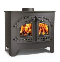Villager A Flat Wood - 14.4kw nominal, Double Door Wood Burning Stove