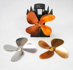 Stove Fan Blade Accessory Pack - Consists of Silver, Gold and Copper Replacement 4 Fin Blades