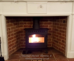 Hunter Herald Slimline 5  Multi Fuel Stove - Single Door  4.4kw nominal - DEFRA Exempt