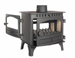 Hunter Herald 8 , DOUBLE SIDED, Single Depth, Single Door Wood Burning Stove - 6 - 11kw Heat output