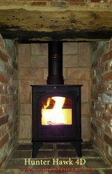 Hunter Hawk 4D Multi Fuel and Wood Burning Stove - 4.7kw nominal - Modern Door - DEFRA Exempt