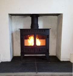 Hunter Herald Slimline 5  Multi Fuel Stove - Double Door  4.4kw nominal - DEFRA Exempt