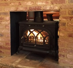 Victorianna Double Sided Wood Burning and Multi Fuel Cast Iron Stove - 10kw max (5 > 7.5kw to room)