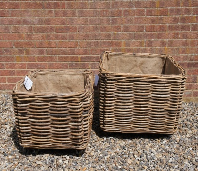Large, Wheeled Log Basket SQUARE (larger) 68cm square x 60cm high  *COLLECTION ONLY*