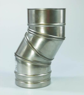 5 inch / 125mm -   0 > 90 deg Stainless Steel Adjustable Bend Flue Pipe Section