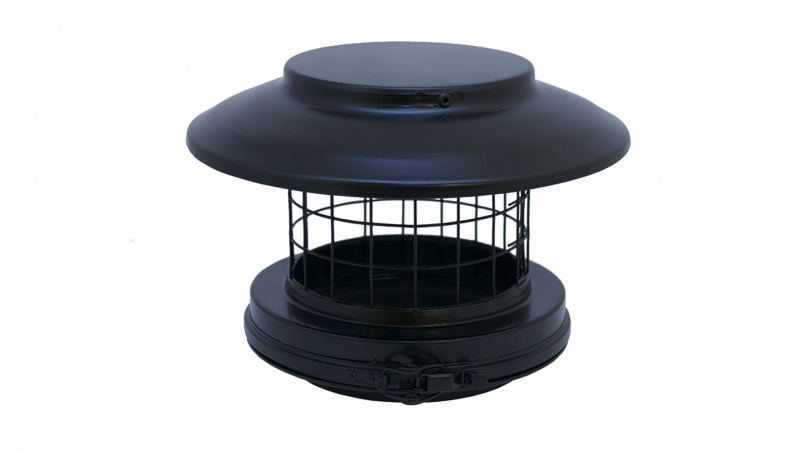 150mm Internal Diameter ICID Plus Rain Cap Terminal With Mesh - Matt Black