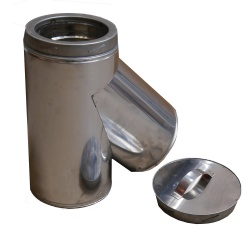 135 deg Tee incl. Cap with drain - 6 inch / 150mm dia - Twin Wall Insulated Flue Pipe Eco ICID