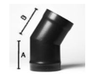 30 deg elbow bend - 5inch / 125mm dia - Vitreous Enamel Flue Pipe