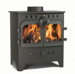 Villager C Flat Wood Duo - 4.9kw nominal - Double Door Wood Burning Stove **SALE PRICE - NEW - EX DISPLAY**