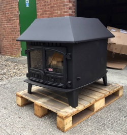 Hunter Herald 14, Double Sided Double Depth Double Door Multi Fuel Stove with LOW Canopy