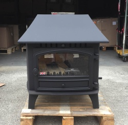 Hunter Herald 14, Double Sided Double Depth Single Door Multi Fuel Stove with LOW Canopy