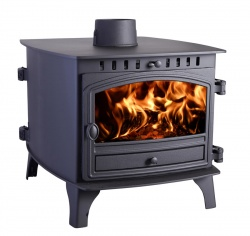 Hunter Herald 8 DOUBLE SIDED, Double Depth Single Door Multi Fuel Stove HIGH CANOPY  - 8 - 18kw Heat Output