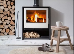 Aarrow I600 Mid Height Slimline, Multi Fuel and Wood Burning Stove - 4.9kw nom, DEFRA Approved CREAM Glass door - EX LIT SHOP DISPLAY