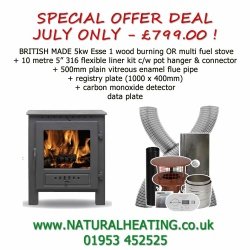 JULY SPECIAL OFFER - ESSE 1 5kw WOOD BURNING Stove plus 10m liner etc