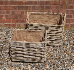 Pair of  Rectangular Hessian Lined Log Baskets (1 x large, 1 x small)