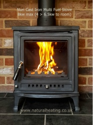 Nuri - Multi Fuel / Wood Burning Cast Iron Stove 8kw Max (4 > 6.5 kw to room)