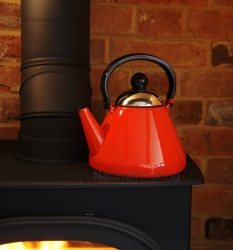 1.9 Litre RED Enamel Stove Top Kettle (suitable for all hob types incl. induction)