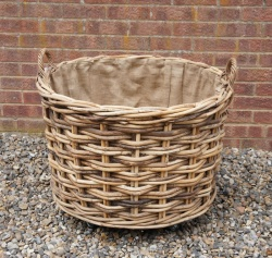 Large, Wheeled Log Basket ROUND (larger) 75cm dia x 52cm h *COLLECTION ONLY*