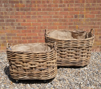 Large, Wheeled Log Basket OVAL (smaller) L 75cm X W 49cm X H 54cm *COLLECTION ONLY*