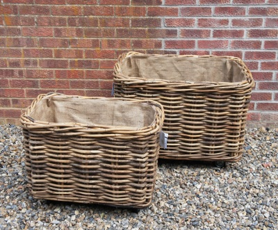 Large, Wheeled Log Basket RECTANGULAR (larger) 82cm w x 56cm d x 52cm h)